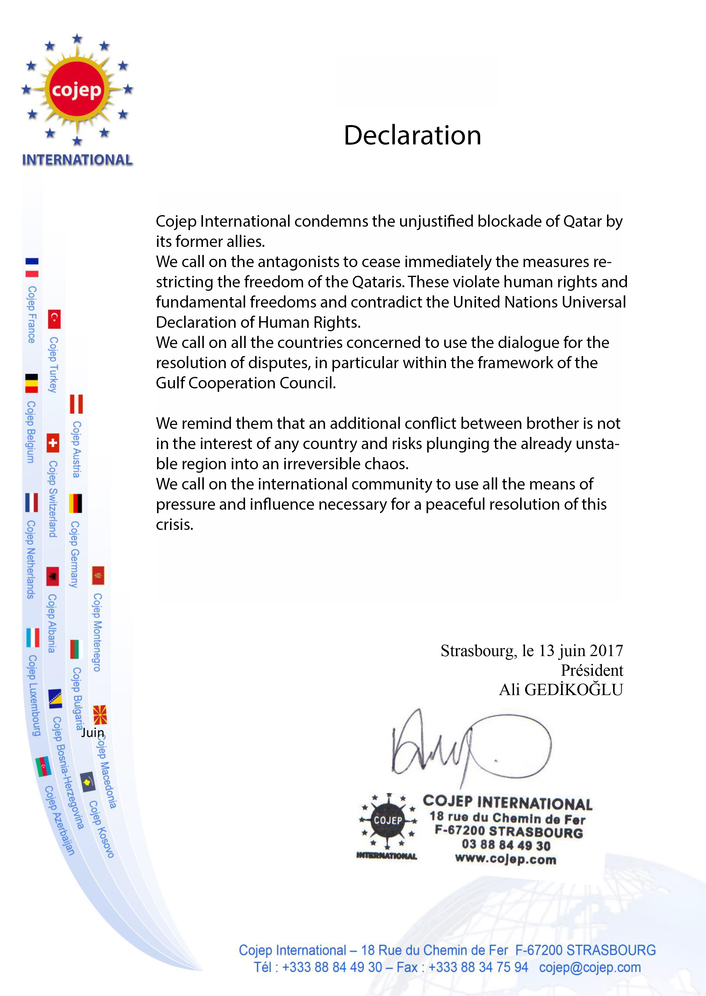 Cojep International condemns the unjustified blockade of Qatar by its former allies.